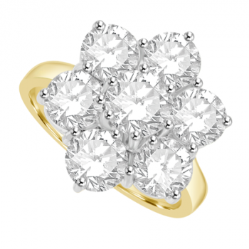 18ct Gold 7-Stone Diamond Flower Cluster Ring