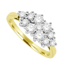 18ct Yellow Gold 11 Diamond Boat Cluster Ring