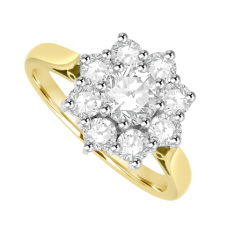 18ct Gold 9-Stone Diamond Cluster Ring