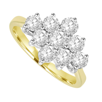 18ct Yellow Gold 9 Diamond 3x3 Cluster Ring