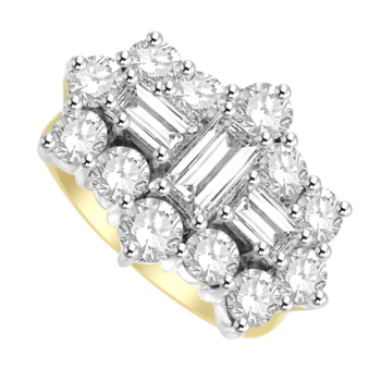 18ct Yellow Gold 15 Diamond Baguette Cluster Ring