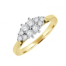 18ct Gold 10-Stone Diamond Boat Cluster Ring