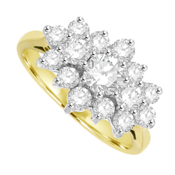 18ct Gold 15 Diamond Tri-Cluster Ring