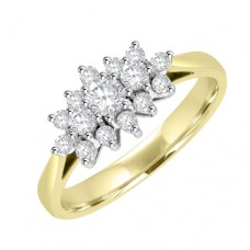18ct Gold 15-stone Diamond Triple Cluster Ring