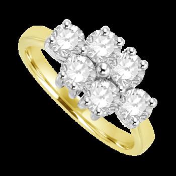 18ct Yellow Gold 6 Diamond Cluster Ring