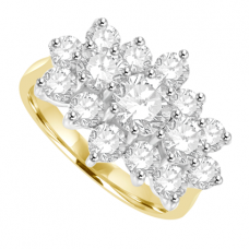18ct Gold 15-Stone Diamond Tri-cluster Ring