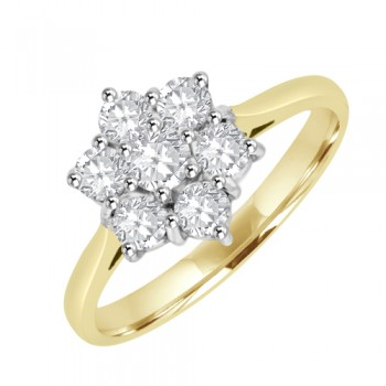 18ct Gold 7st Diamond 6x1 Cluster Ring