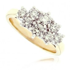18ct Yellow & White Gold 8-Stone Diamond Cluster Ring