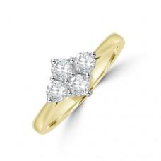 18ct Gold 4-stone .50ct Diamond 2x2 Cluster Ring