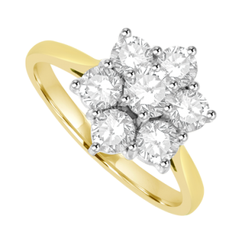18ct Gold 7-Stone Flower Cluster .77ct Diamond Ring