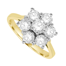 18ct Gold 7-Stone 1.01ct Diamond Flower Cluster Ring
