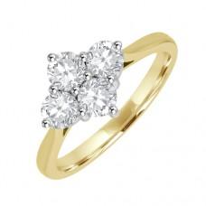 18ct Gold 4-stone 2x2 Diamond Cluster Ring