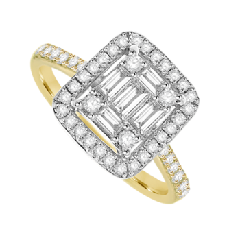 18ct Gold Diamond Baguette Cluster Halo Ring