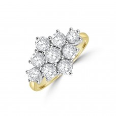 18ct Gold 9-stone 1.63ct Diamond Cluster Ring