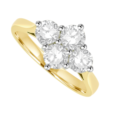 18ct Gold 4 Diamond 2x2 Cluster Ring