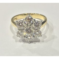 18ct Gold 7-stone Diamond Flower Cluster Ring 2.02ct 6x1