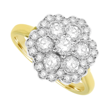 18ct Gold 7 Diamond Cluster Halo Ring
