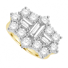18ct Gold 15-stone Baguette 2.77ct Diamond Cluster Ring