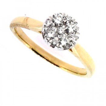 18ct Gold Solitaire Illusion Diamond Ring