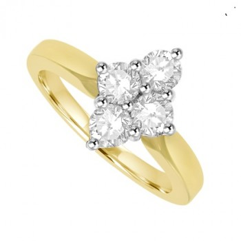 18ct Gold 4-Stone 2x2 Diamond Cluster Ring