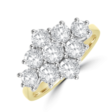 18ct Gold 9-stone Diamond 3x3 Cluster Ring