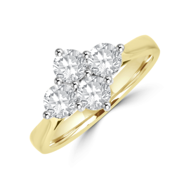 18ct Gold 4-stone Diamond 2x2 Cluster Ring