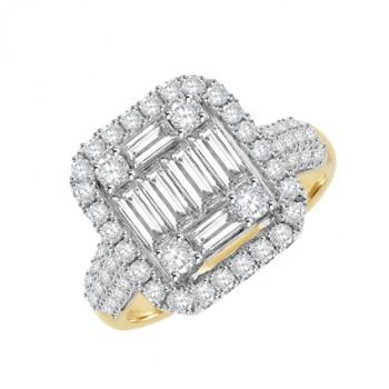 18ct Gold & Platinum Diamond Baguette Cluster Halo Ring