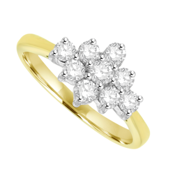 18ct Gold Diamond 3x3 Cluster Ring