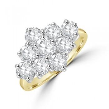 18ct Gold 9-stone 2.15ct Diamond 3x3 Cluster Ring