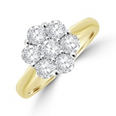 18ct Gold 7-stone Diamond Daisy Cluster Ring