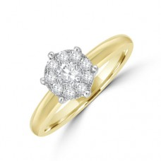 18ct Gold Solitaire-Illusion .41ct Diamond Cluster Ring