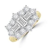 18ct Gold 15-stone 2.00ct Diamond Baguette Cluster Ring