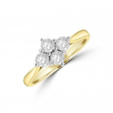 18ct Gold 2x2 .51ct Diamond Cluster Ring