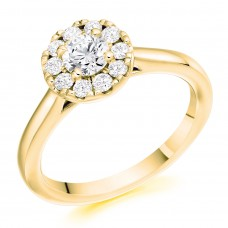 18ct Gold 11x1 Diamond Cluster Halo Ring