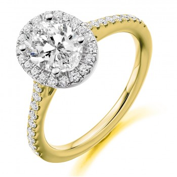 18ct Gold Solitaire IVS2 Diamond Oval Halo Ring