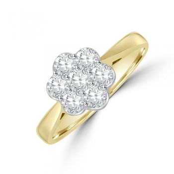 18ct Gold 7-stone .50ct Diamond Daisy Cluster Ring