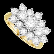 18ct Gold 15-stone 1.68ct Diamond Tri-cluster Ring