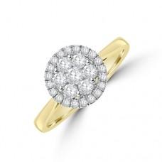 18ct Gold Daisy Cluster Diamond Halo Ring