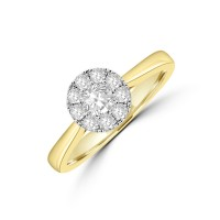 18ct Gold Illusion Solitaire .50ct Diamond Ring