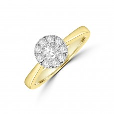 18ct Gold Illusion Solitaire .50ct Diamond Ring