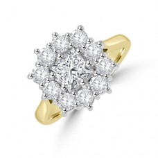 18ct Gold Princess cut 1.84ct Diamond Cluster Ring