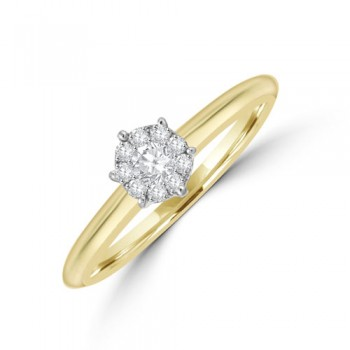 18ct Gold Solitaire Illusion .15ct Diamond Cluster Ring