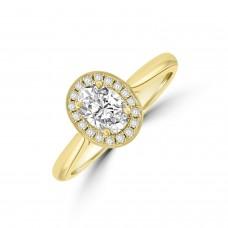 18ct Gold Oval FSi2 Diamond Halo Ring