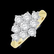 18ct Gold 1.25ct Diamond 3x3 Cluster Ring