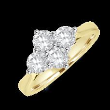 18ct Gold 4-stone 1.03ct Diamond 2x2 Cluster Ring