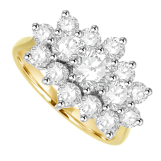 18ct Gold 15-stone .93ct Diamond Tri-cluster Ring