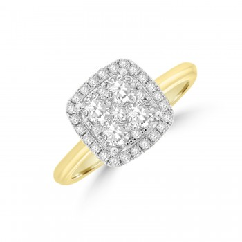 18ct Gold Illustion Diamond Cushion Halo Ring