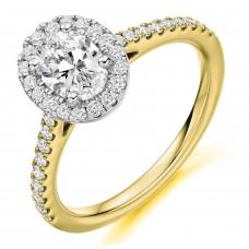 18ct Gold & Platinum Oval ESi1 Diamond Halo Ring