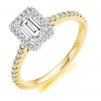 18ct Gold & Platinum Emerald cut FVS2 Diamond Ring