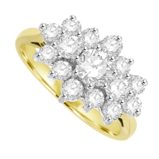 18ct Gold 1.01ct Diamond Tri-Cluster Ring